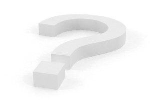 Big Question mark in 3D with White color